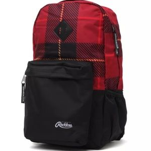 Young and Reckless Red/Black Plaid Backpack